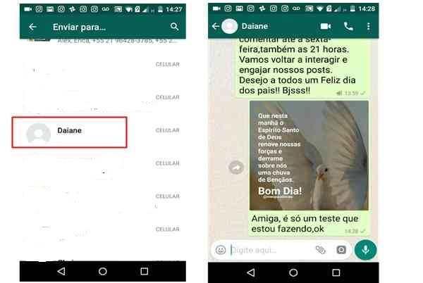 Mensagem encaminhada no Whatsapp