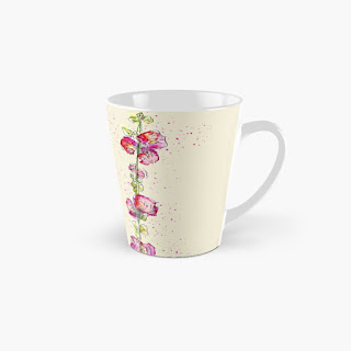 Tall mug with pink watercolour hollyhocks on a cream background