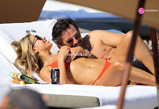 Sylvie Meis Super  fit  body in tiny red bikini WOW Beach Side  Pics Celebs.in Exclusive 012