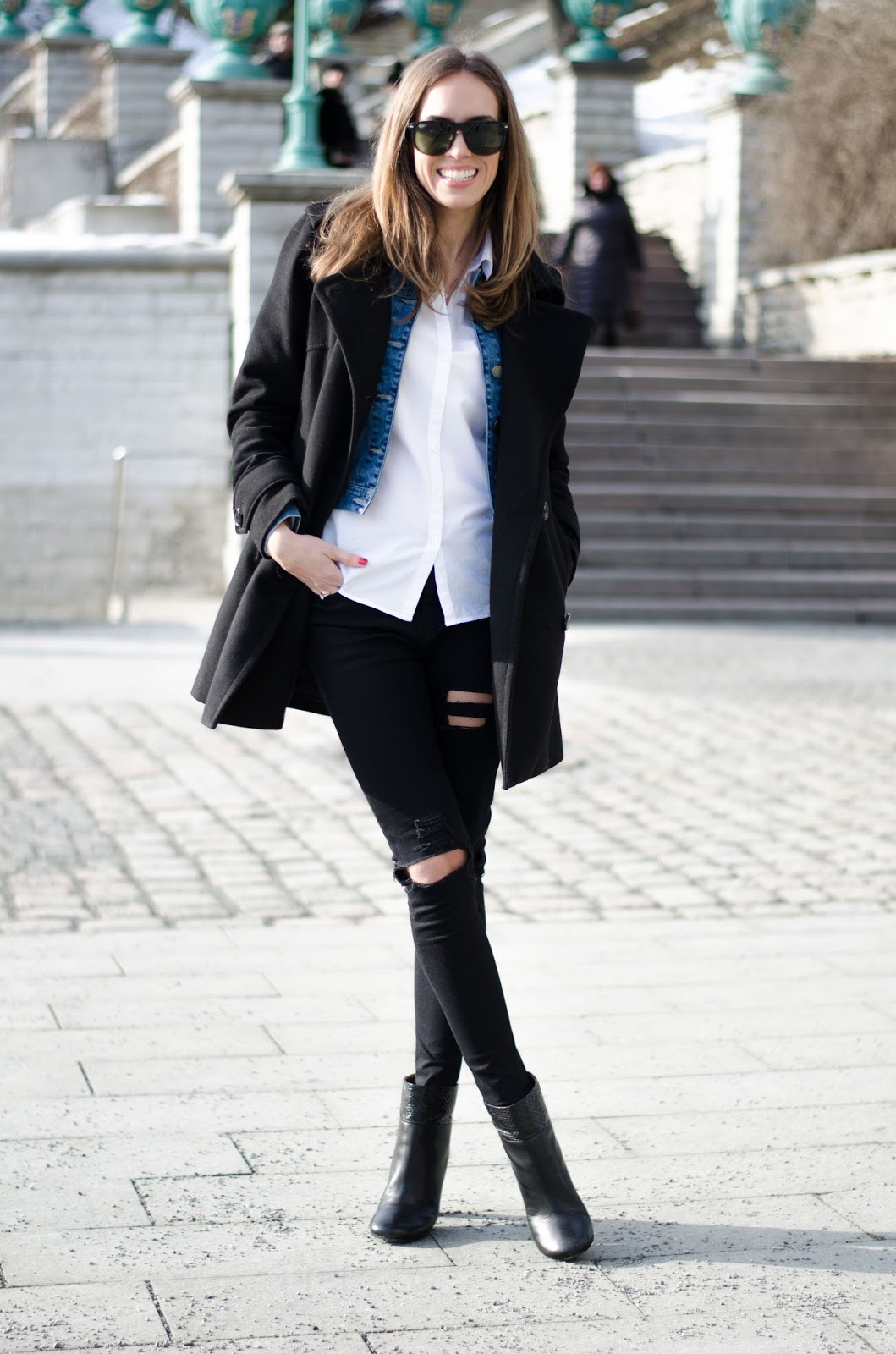 kristjaana mere black coat white shirt black ripped jeans winter outfit
