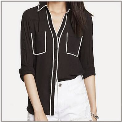 Black portofino shirt with white contrast piping