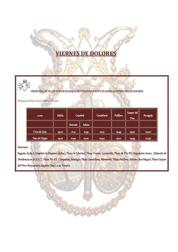 Horarios e Itinerarios de la Semana Santa de Cádiz 2020