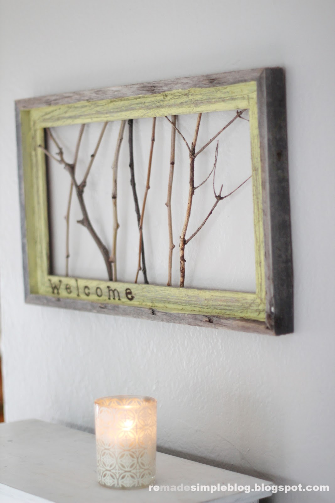 Remadesimple Framed Sticks Welcome Sign