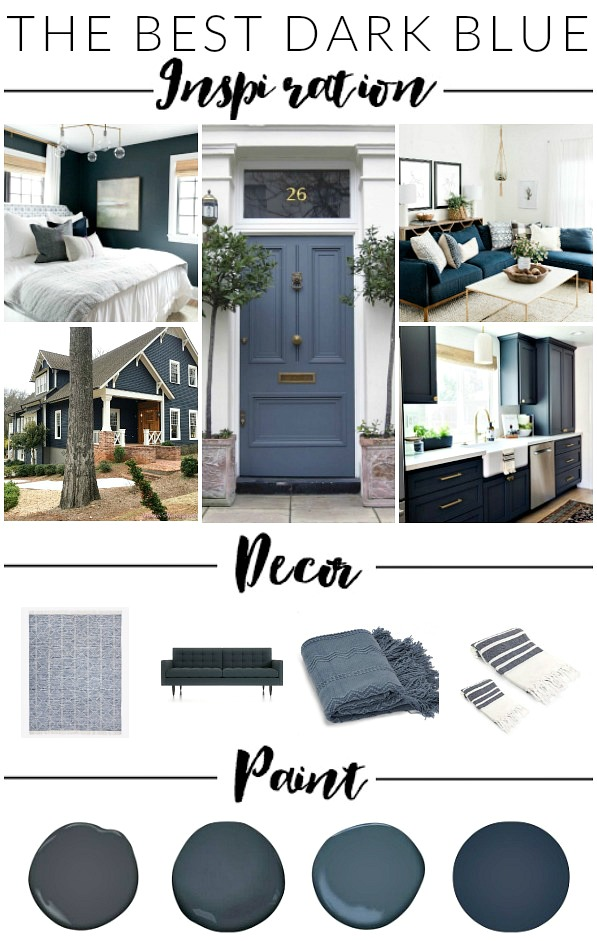 The best dark blue decor, inspiration and paint colors