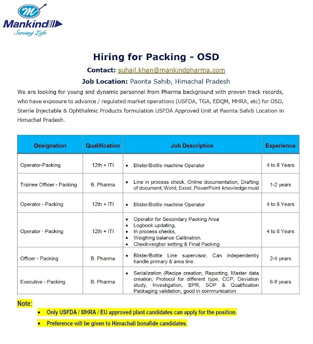 Mankind Pharma | Hiring for Multiple positions in Packing -OSD at Paonta Sahib