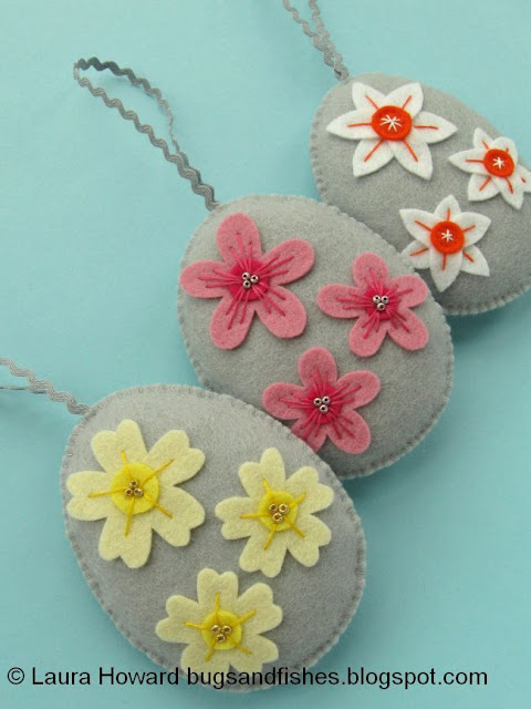 Wool felt easter eggs decorated with spring flowers