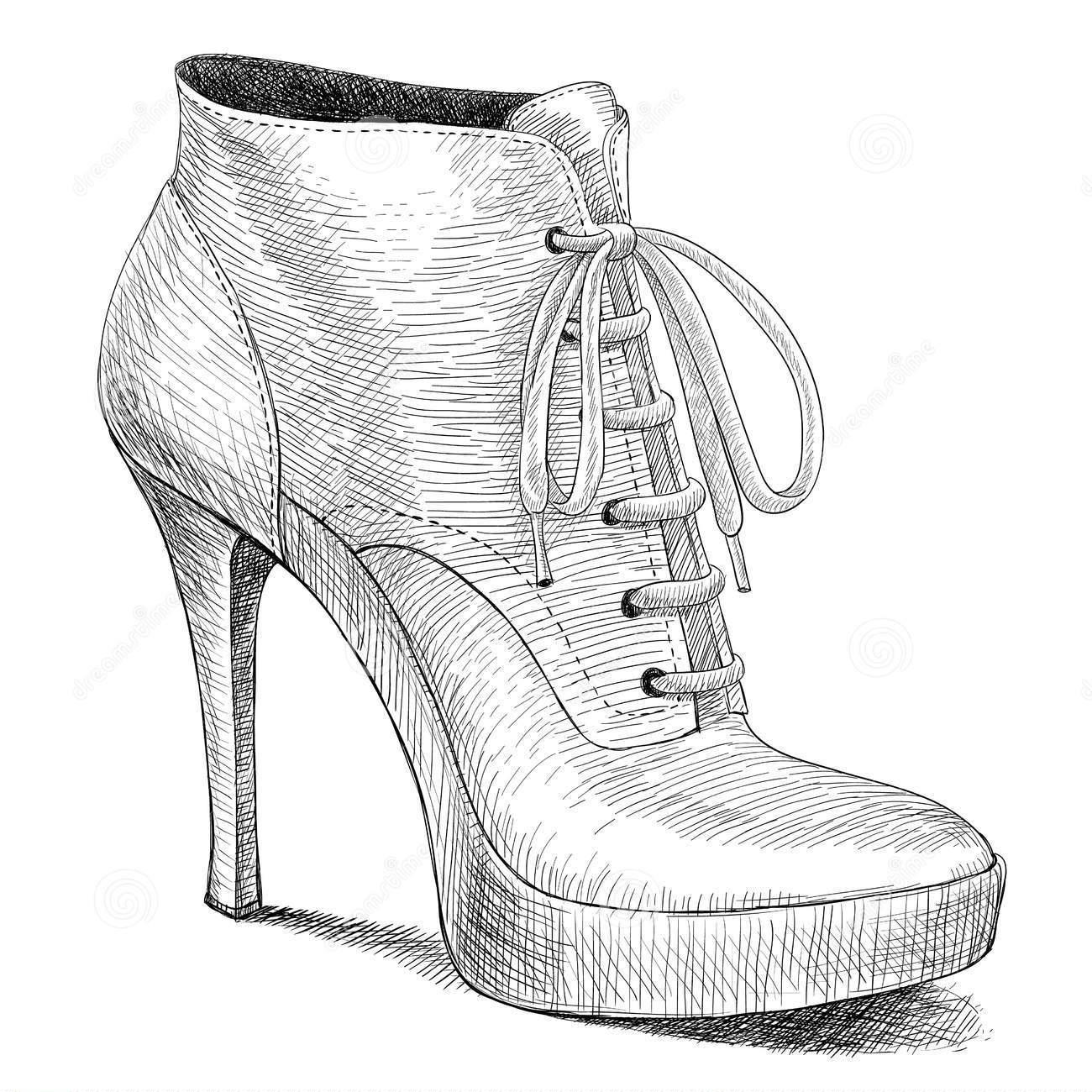 Topuklu Ayakkabı Karakalem Çizimleri ~ Karakalem Çizimleri