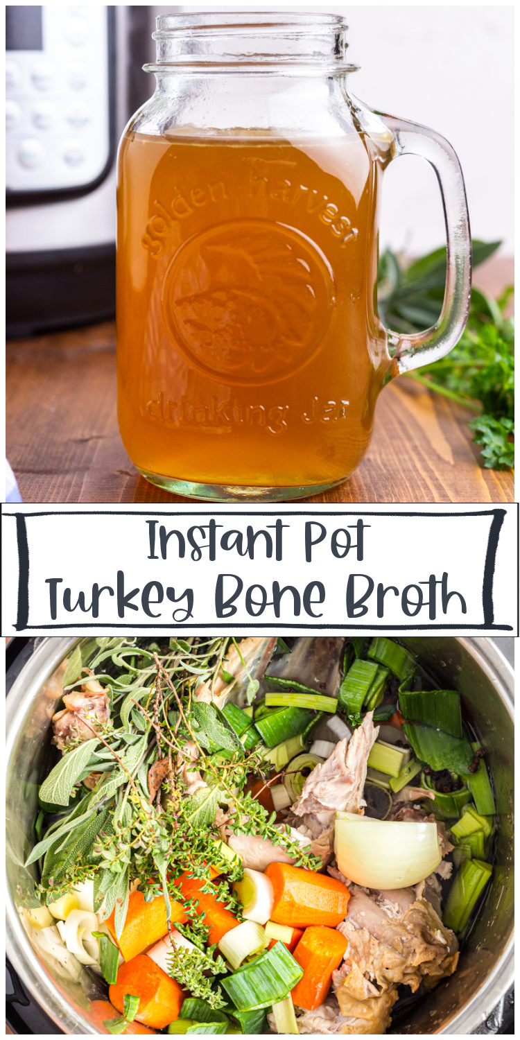Homemade Turkey Bone Broth - This homemade turkey bone broth is the perfect way to use up your turkey leftovers! Homemade bone broth is a staple in my kitchen and making it in the Instant Pot is easy and so much faster than the traditional way.  #instantpot #bonebroth #stock #turkey #chicken #leftover #lowcarb #keto #glutenfree #soup #broth
