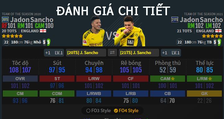 FIFA ONLINE 4   Đánh giá chi tiết tiền vệ Jadon Sancho giữa hai mùa thẻ 21TS và 20TS