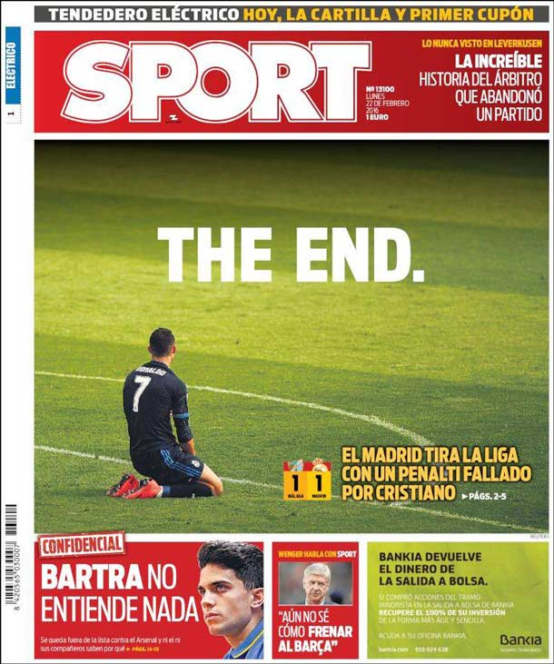 Portada del periódico Sport, lunes 22 de febrero de 2016