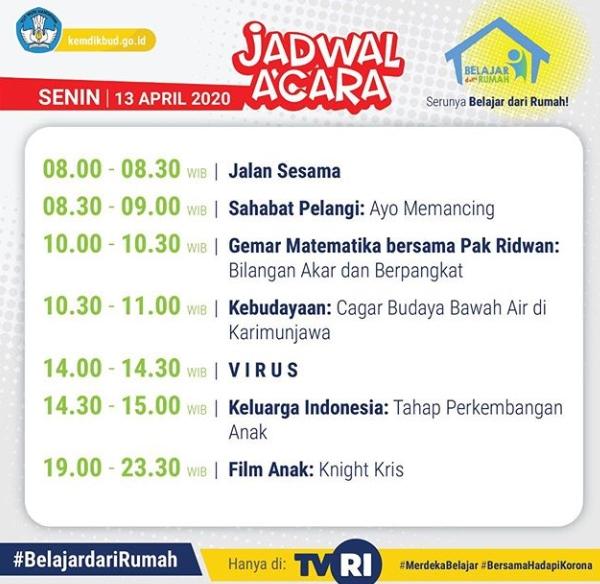 13 April 2020_Jadwal dan Materi Acara TVRI Program Belajar dari Rumah untuk PAUD/SD/SMP/SMA dan yang Sederajat