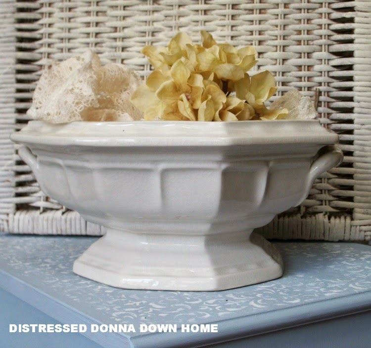 white ironstone, soup tureens, wicker basket