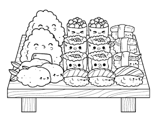 Kawaii food coloring pages printable