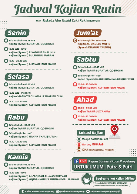 Jadwal Kajian Rutin oleh Ustadz Abu Usaid Zaki Rakhmawan Hafidzahulloh