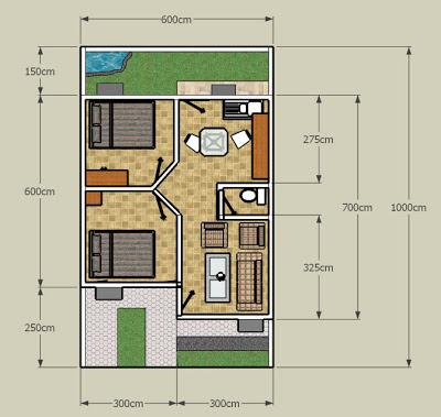 Denah Rumah Sederhana 2 Kamar Tidur