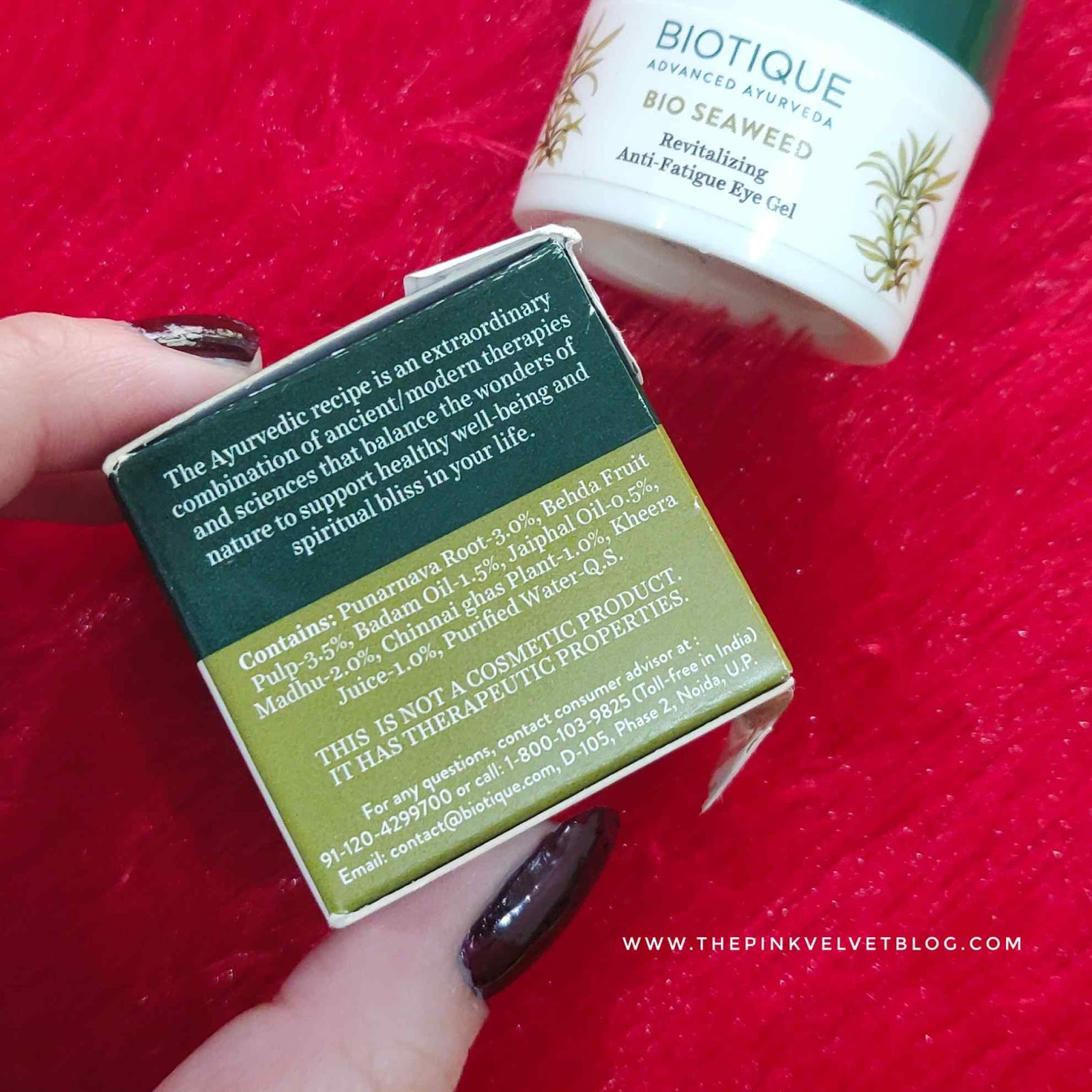 Biotique Bio Seaweed Revitalizing Anti-Fatigue Eye Gel Review - Ingredients