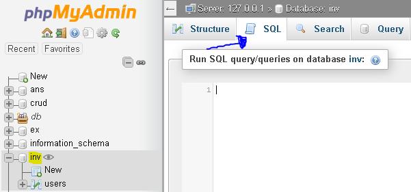 Pembuatan tabel untuk database inv dengan SQL