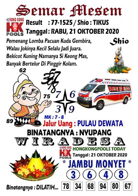 Syair Semar Mesem HK Rabu 21 Oktober 2020