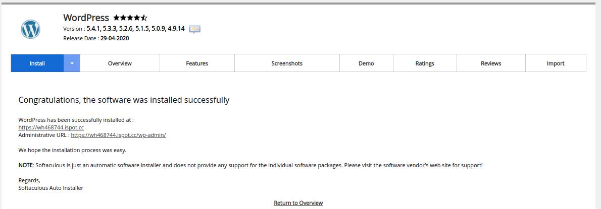 WordPress Installation Complete, Softaculous.
