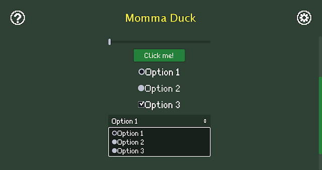 A screenshot from Momma Duck showing some widgets with the old high-resolution styles.