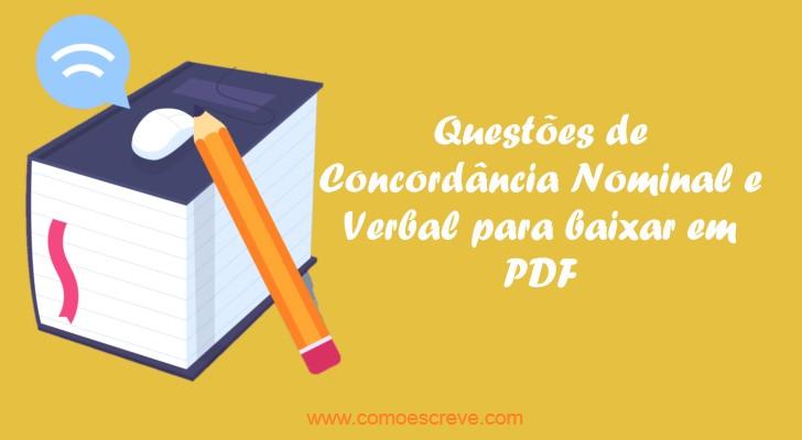 150 Questões de Concordância Nominal e Verbal para baixar em PDF