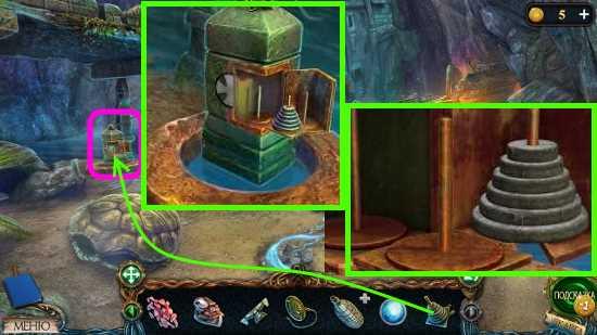 ставим пирамидку и перемещаем все круги в игре затерянные земли 3