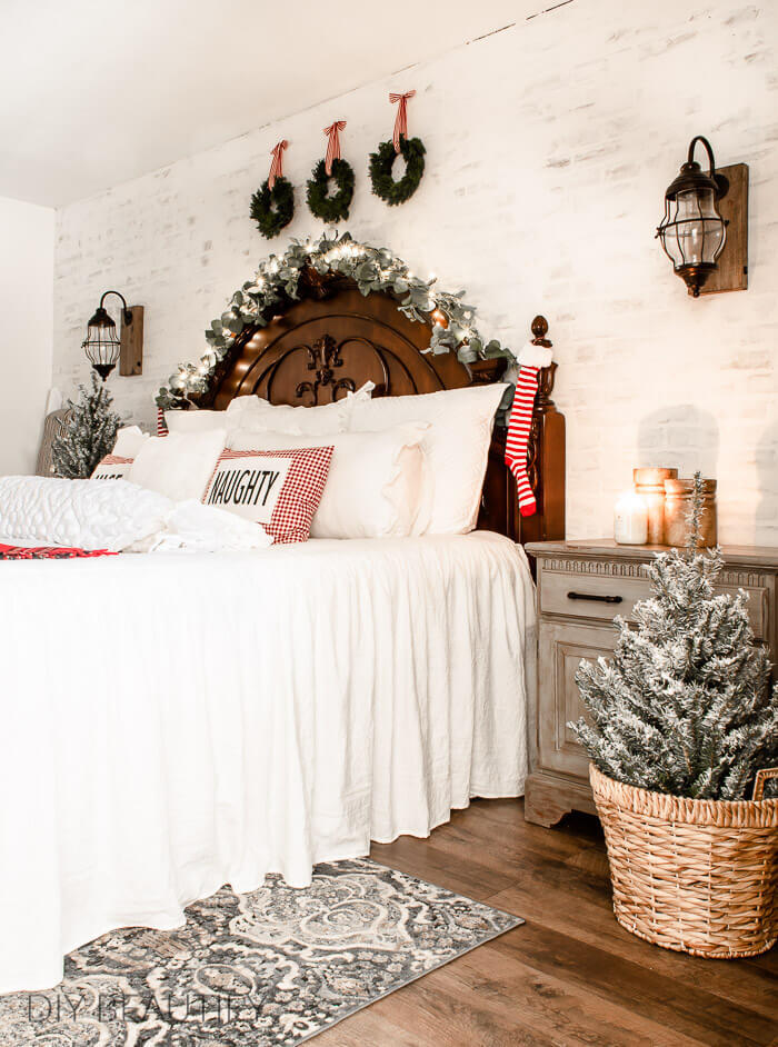 Christmas bedroom with red striped stockings