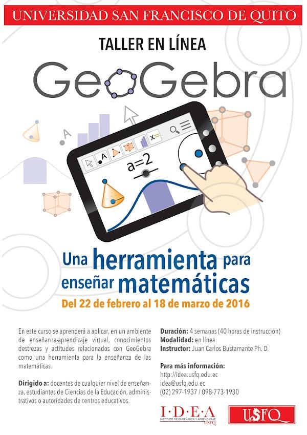 IDEA - USFQ invita al taller en línea GeoGebra, una herramienta para enseñar matemáticas