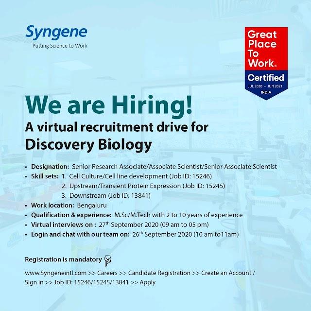 Syngene International | Virtual Recruitment on 27 Sept 2020 for Discovery Biology