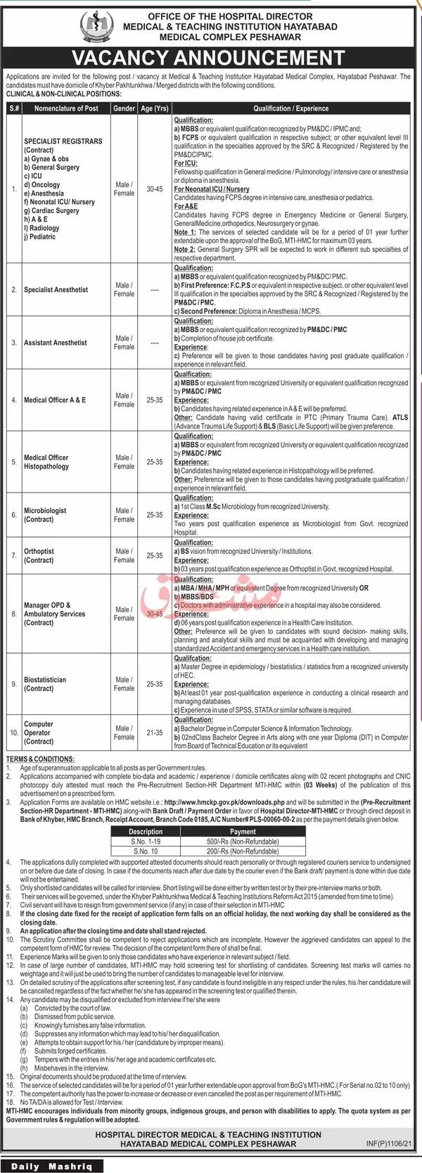 Medical & Teaching Institution Hayatabad Medical Complex Peshawar   Medical Jobs 2021