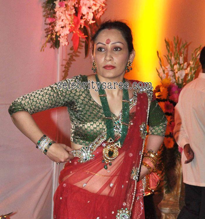 Manyata Dutt In Red Netted Sari
