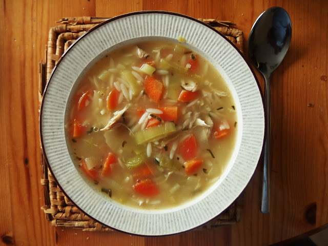 Yummy lemon chicken soup with orzo