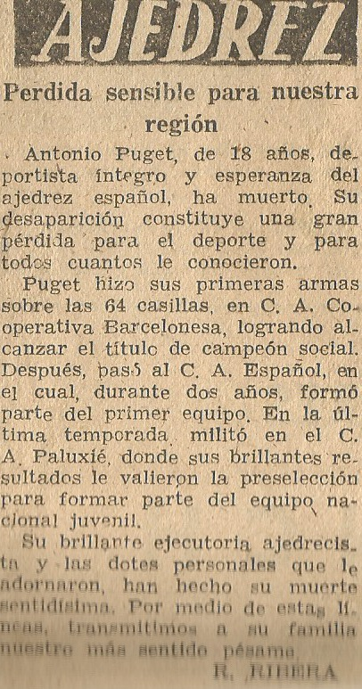 Recorte de prensa sobre Antoni Puget en La Prensa, 1959