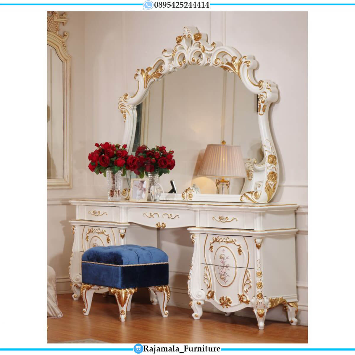 New Set Meja Rias Mewah Ukiran Jepara Classic Luxury Style RM-0585