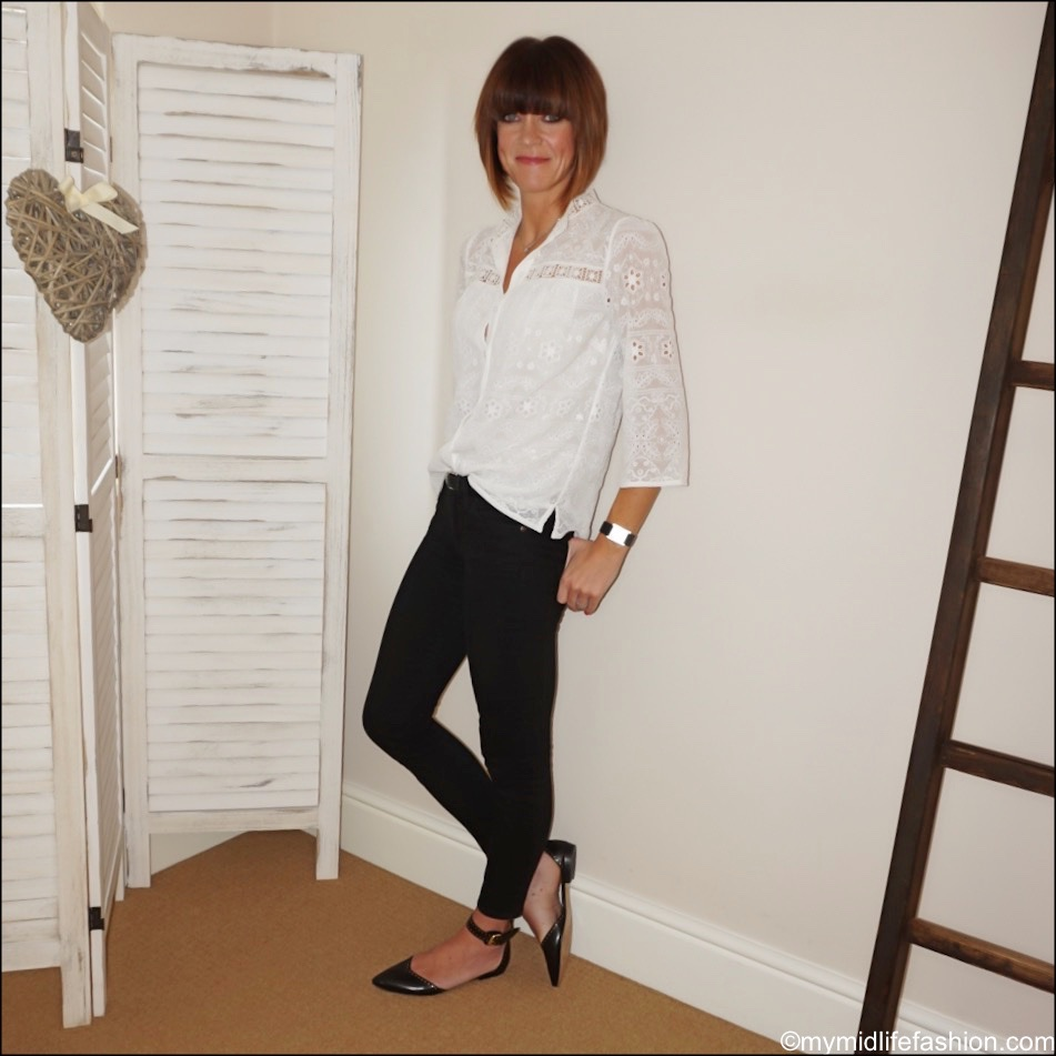 my midlife fashion, Somerset by Alice temperley lace blouse, j crew 8 stretchy toothpick jeans in true black, Isabel Marant studded flat shoes