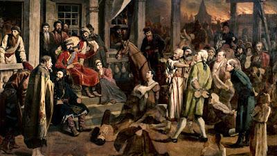 Sejarah Rusia       Sejarah Rusia diawali dengan perpindahan bangsa-bangsa Skandinavia yang dikenal sebagai bangsa Varangia yang dipimpin oleh tokoh semilegendaris Rurik yang menyeberangi Laut Baltik serta pada tahun 862 M memasuki kota Novgorod dan memerintah di sana. Pada tahun 882 ia menguasai Kiev, kota Slavia yang berkembang menjadi pusat perdagangan antara Skandinavia dan Konstantinopel. Pada tahun 989 Vladimir I meluaskan wilayahnya hingga Kaukasus dan Laut Hitam serta mengambil ajaran Gereja Ortodoks Yunani. Kerajaan Kiev Rusia berakhir setelah serangan Mongol pada tahun 1237 oleh Batu Khan, cucu Genghis Khan. Selanjutnya bangsa Mongol dikalahkan oleh Dimitri Donskoy pada tahun 1380 dengan kemenangan di Kulikovo. Kemudian daerah-daerah yang tercerai berai disatukan kembali oleh Ivan IV; ia menaklukan Kazan (1552), Astrakhan (1516) serta menguasai Siberia. Pemerintahan dilanjutkan oleh penerusnya sampai wangsa Romanov naik tahta yang diawali dengan diangkatnya oleh Michael Romanov sebagai Tsar (1613). Dinasti Romanov berkuasa selama 304 tahun hingga tahun 1917 dengan Tsar Nikolai II sebagai tsar terakhir. Pada bulan Februari 1917 dibentuk Pemerintahan Sementara di bawah Pangeran Lyvov dan Alexander Kerensky sampai 25 Oktober 1917, saat pemerintahan tersebut digantikan Pemerintahan Revolusi Bolshevik oleh Vladimir Ilyich Lenin. Pada periode selanjutnya, pemerintahan dilanjutkan secara diktator oleh Josef Stalin (1922) yang mewujudkan Uni Soviet (Soviet berarti Dewan) dengan bergabungnya negara-negara di sekitar Rusia. Pemerintahan Uni Soviet berakhir setelah pada tanggal 25 Desember 1991 Presiden Mikhail Gorbachev mengundurkan diri serta berkibarnya bendera tiga warna Rusia di Kremlin.         Pada tahun 1918-1922 terjadi perang saudara antara penentang kaum B