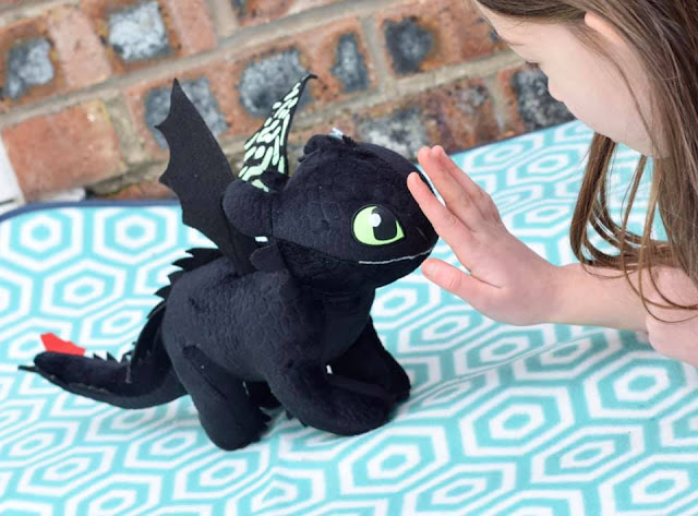 Girl stroking night fury dragon - toothless