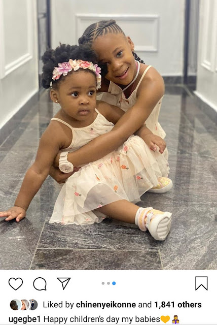 image result for Flavour Nabania daughters,Munachi Gabrielle and her younger sister Kaima