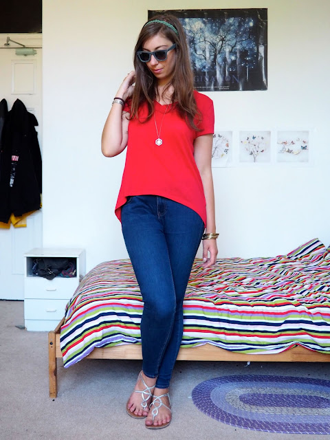 Zero to Hero, Hercules Disneybound outfit of bright red top, blue skinny jeans, strappy sandals & gold jewellery
