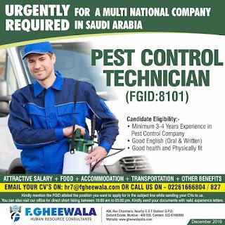 Pest Control Technician for Saudi Arabia