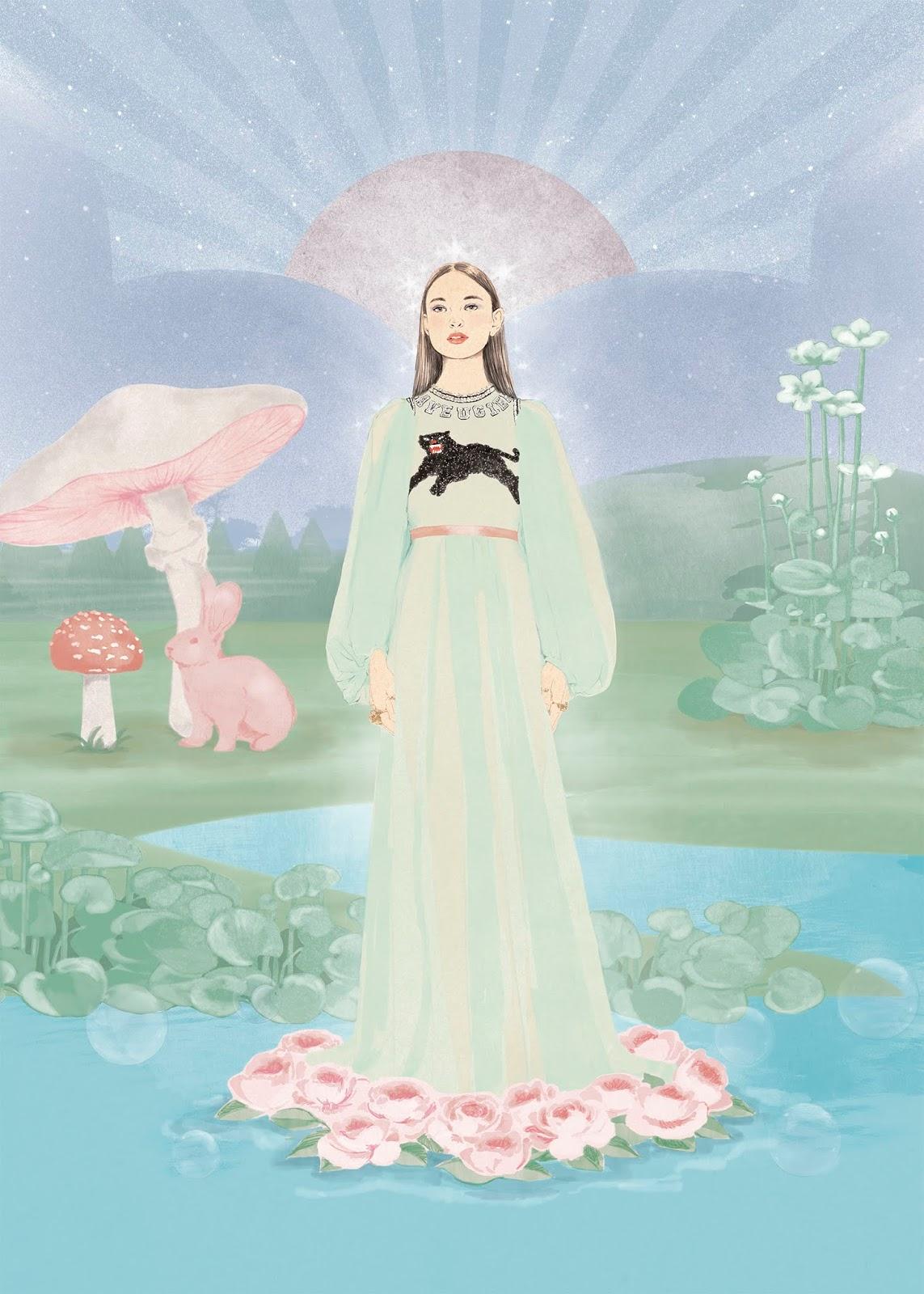 Ilustración Paula Blanche de joven virginal en medio de lago sobre descanso de flores