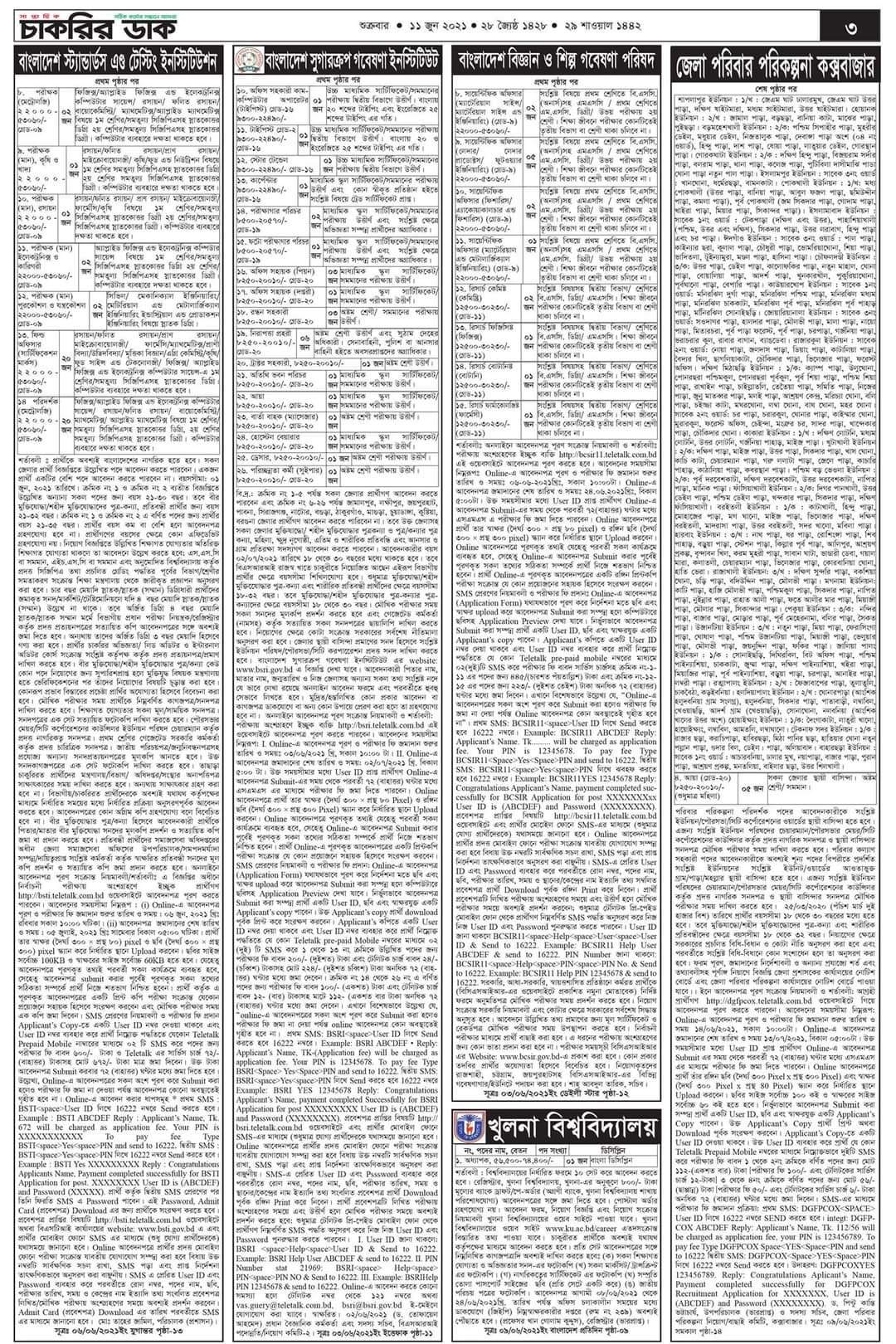 সাপ্তাহিক চাকরির ডাক-১১,৬,২০২১