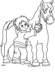 Kids Brush Horse At Farm Coloring Pages Images