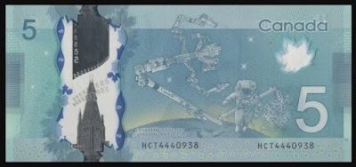 uang kertas lima dolar kanada, canadarm di uang kertas