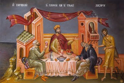 Orthodox Icon — Parable of the rich man and Lazarus