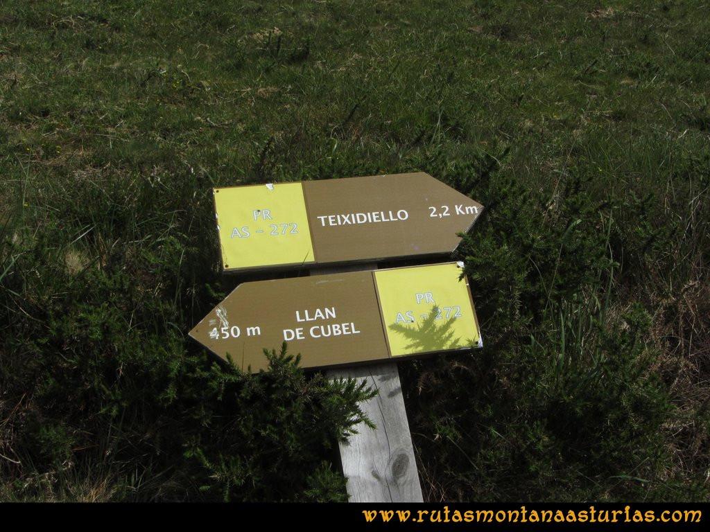 Ruta Llan de Cubel y Cueto: Señales de la ruta PR AS-272