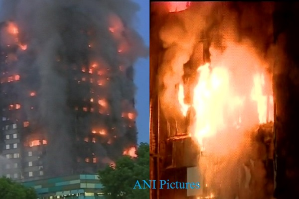 Fire engulfs 27-storey tower block in Latimer Road, west London. 40 fire engines & 200 firefighters at the spot.