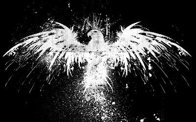Águila de color blanco sobre fondo oscuro