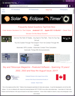 snapshot of the Solar Eclipse Timer web site with JRASC article