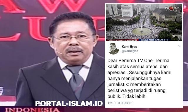 TV One Banjir Terimakasih siarkan Reuni 212, Karni Ilyas: Kami Hanya Menjalankan Tugas Jurnalistik